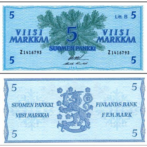 Suomi 1963 5 Markkaa Litt B P99a AUNC