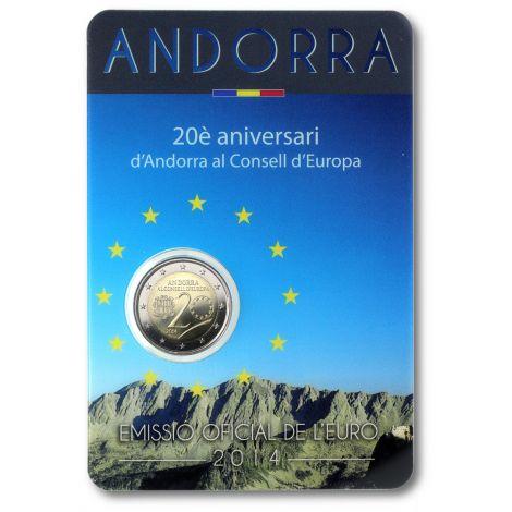 Andorra 2014 2 € 20 vuotta Euroopan neuvostossa COINCARD