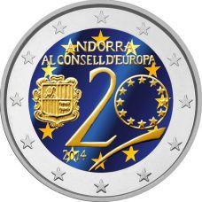 Andorra 2014 2 € 20 vuotta Euroopan neuvostossa VÄRITETTY