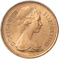 Englanti 1971 1/2 Penny UNC