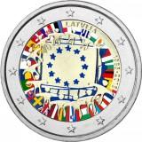 Latvia 2015 2 € EU:n lippu 30v VÄRITETTY