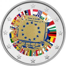 Luxemburg 2015 2 € EU:n lippu 30v VÄRITETTY