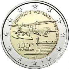 """Malta 2015 2 € Ensimmäinen lento 100v """"Y"""" BU"""