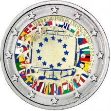 Saksa 2015 2 € EU:n lippu 30v J VÄRITETTY