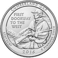 "USA 2016 $0,25 Kentucky Cumberland Gap National Historical Park ""D"" UNC"
