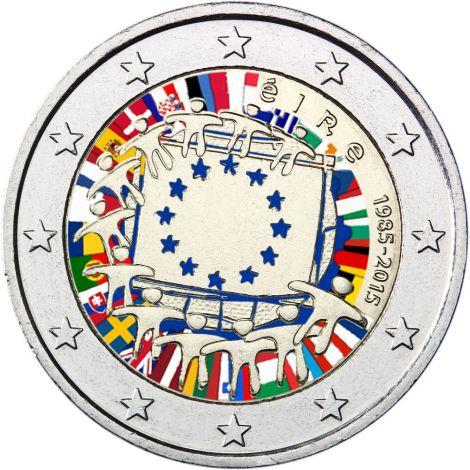 Irlanti 2015 2 € EU:n lippu 30v #2 VÄRITETTY
