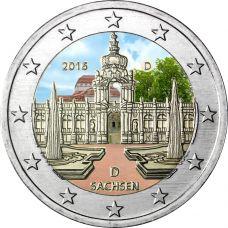 Saksa 2016 2 € Sachsen D VÄRITETTY
