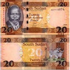Etelä-Sudan 2015 20 Pounds P13 UNC