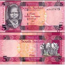 Etelä-Sudan 2015 5 Pounds P6b UNC