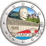 Luxemburg 2016 2 € Suurherttuatar  Charlotte -sillan 50. vuotispäivä VÄRITETTY