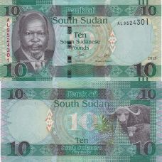 Etelä-Sudan 2015 10 Pounds P12a UNC