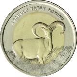 Turkki 2015 1 Lira Anatolian Wild Sheep UNC