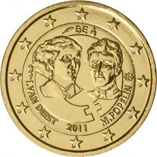 Belgia 2011 2 € Kansainvälinen naistenpäivä 100 vuotta KULLATTU