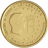 Luxemburg 2004 2 € Suurherttua Henri ja monogrammi KULLATTU