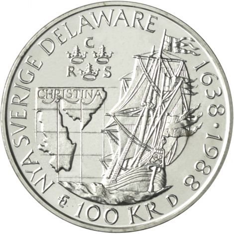 "Ruotsi 1988 100 Kronor ""Delaware"" HOPEA"