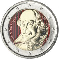 San Marino 2016 2 € William Shakespeare VÄRITETTY