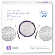 Suomi 2017 10 € Itsenäinen Suomi 100 vuotta HOPEA PROOF