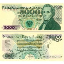 Puola 1982 5000 Zlotych P150c UNC