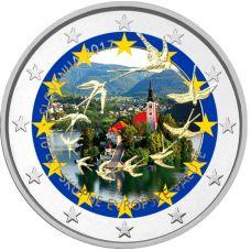 Slovenia 2017 2 € Euron 10. vuosipäivä VÄRITETTY