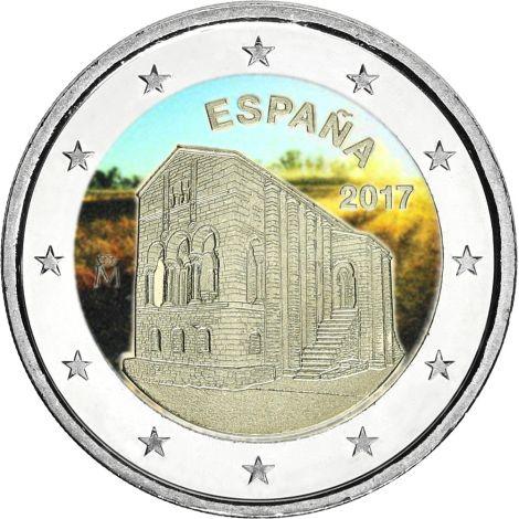 Espanja 2017 2 € Asturiasin kuningaskunnan kirkot VÄRITETTY