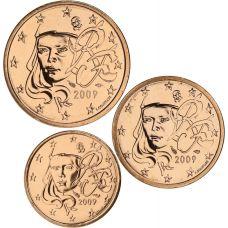 Ranska 2009 1 c, 2 c, 5 c Irtokolikot UNC