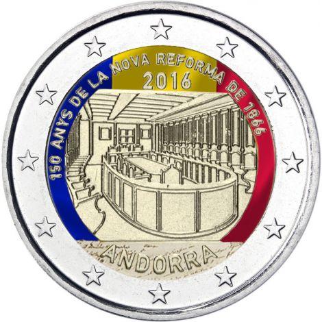 Andorra 2016 2 € Parlamenttiuudistus 150 vuotta VÄRITETTY