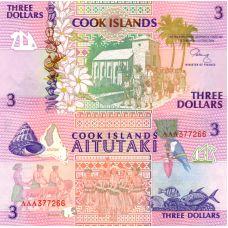 Cookinsaaret 1992 3 Dollars P7a UNC