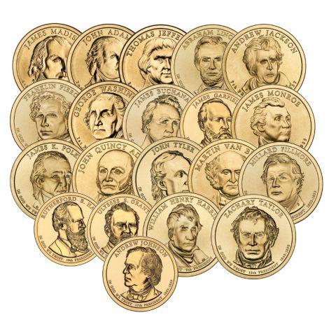 "USA 2007-2011 $1 Presidentit 1-20 Kokoelma ""D"" UNC"