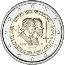 Vatikaani 2017 2 € Pyhä Pietari ja Pyhä Paavali UNC