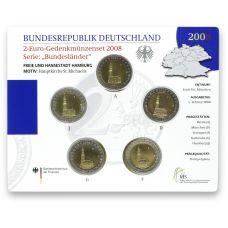 Saksa 2008 2 € Hampuri ADFGJ BU