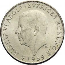 Ruotsi 1959 5 Kruunua 150v Perustuslaki HOPEA VG