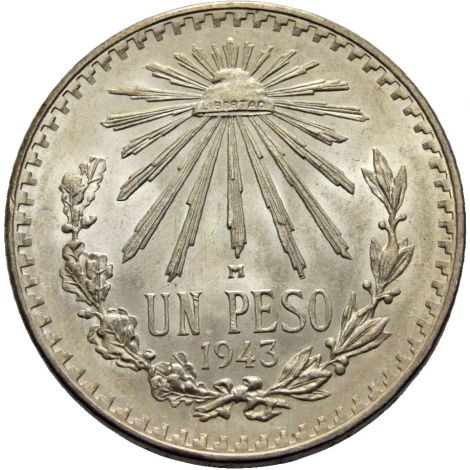 Meksiko 1943 1 Peso HOPEA UNC
