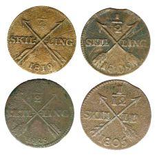 Ruotsi 1805-1828 1/2 Skilling 4 kpl