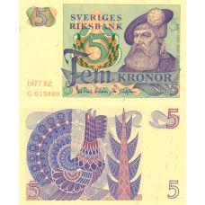 Ruotsi 1977 5 Kronor P51d UNC