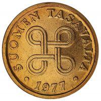 Suomi 1977 5 Penniä Cu UNC