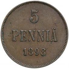 Suomi 1898 5 Penniä KL6