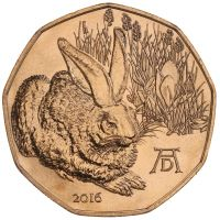 Itävalta 2016 5 € Dürerin jänis UNC