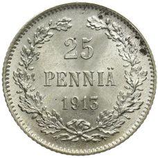 Suomi 1913 25 Penniä KL8-9