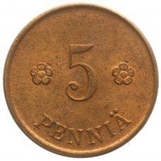 Suomi 1922 5 Penniä KL8