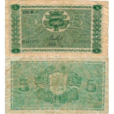 Suomi 1939 5 Markkaa Litt D P69 KL1-3