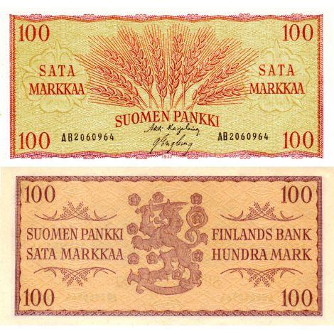 Suomi 1957 100 Markkaa P97 AB-Sarja KL8