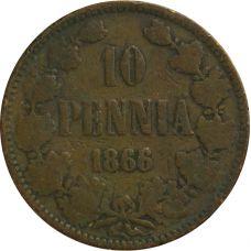 Suomi 1866 10 Penniä KL2