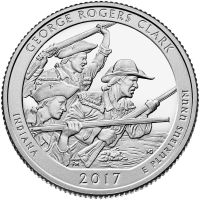 """USA 2017 $0,25 Indiana George Rogers Clark National Historical Park """"P"""" UNC"""