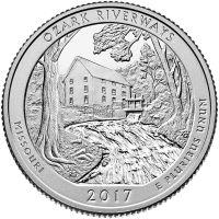 "USA 2017 $0,25 Missouri Ozark National Scenic Riverways ""P"" UNC"