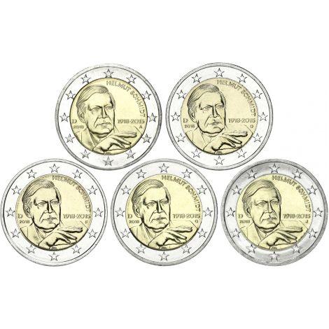 Saksa 2018 2 € Helmut Schmidt ADFGJ UNC