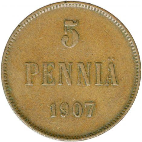 Suomi 1907 5 Penniä KL5