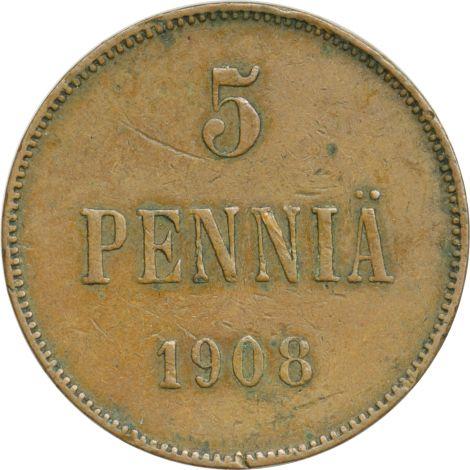 Suomi 1908 5 Penniä KL4