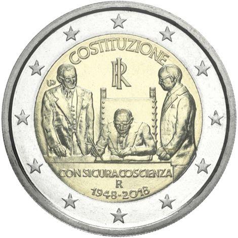 Italia 2018 2 € Perustuslaki 70 vuotta UNC