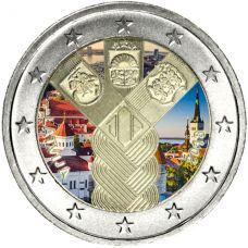 Latvia 2018 2 € Baltian maat 100 vuotta VÄRITETTY