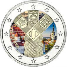 Liettua 2018 2 € Baltian maat 100 vuotta VÄRITETTY